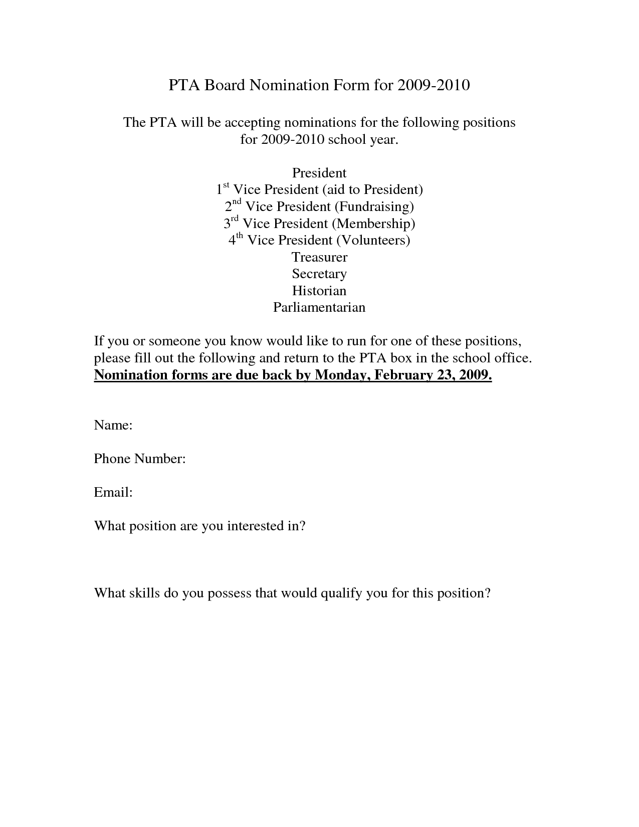 pta board nomination form template pta pta