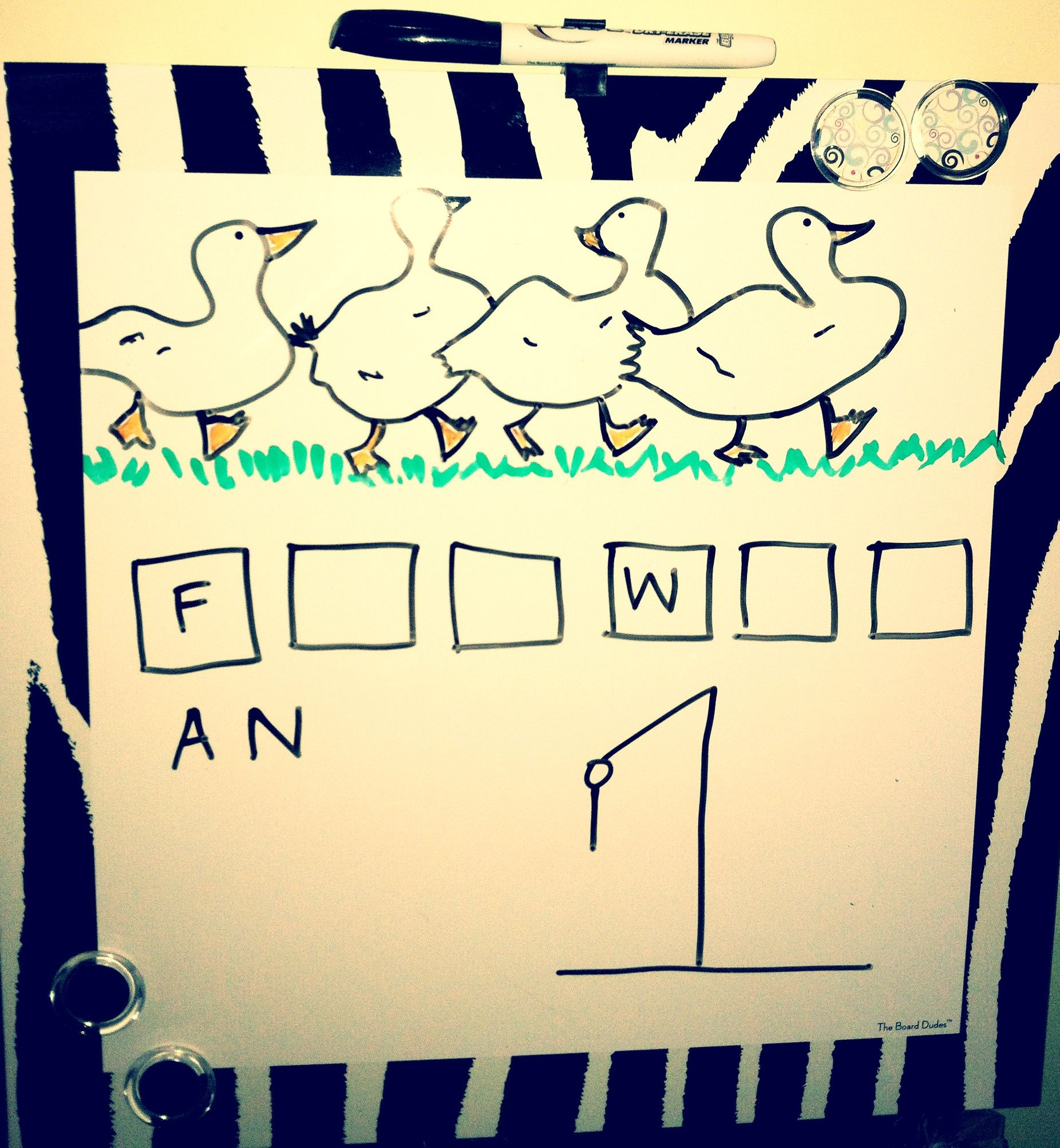 Play fun Easter themed hangman games on a dry erase board