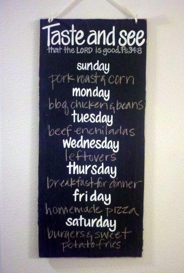 DIY Weekly Menu Board {Craft & Meal Planning Idea
