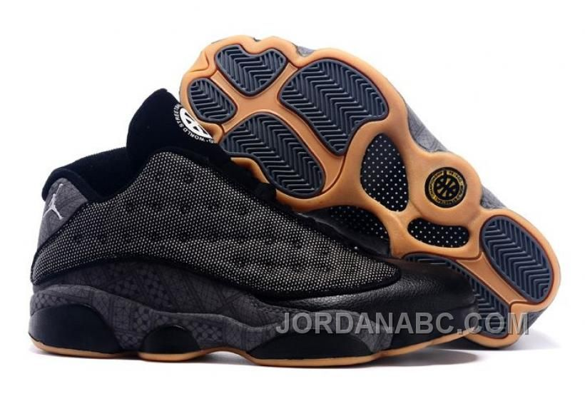 Original 2015 Air Jordan 13 Low Quai 54 Black Dark Grey White Chrome For Sale