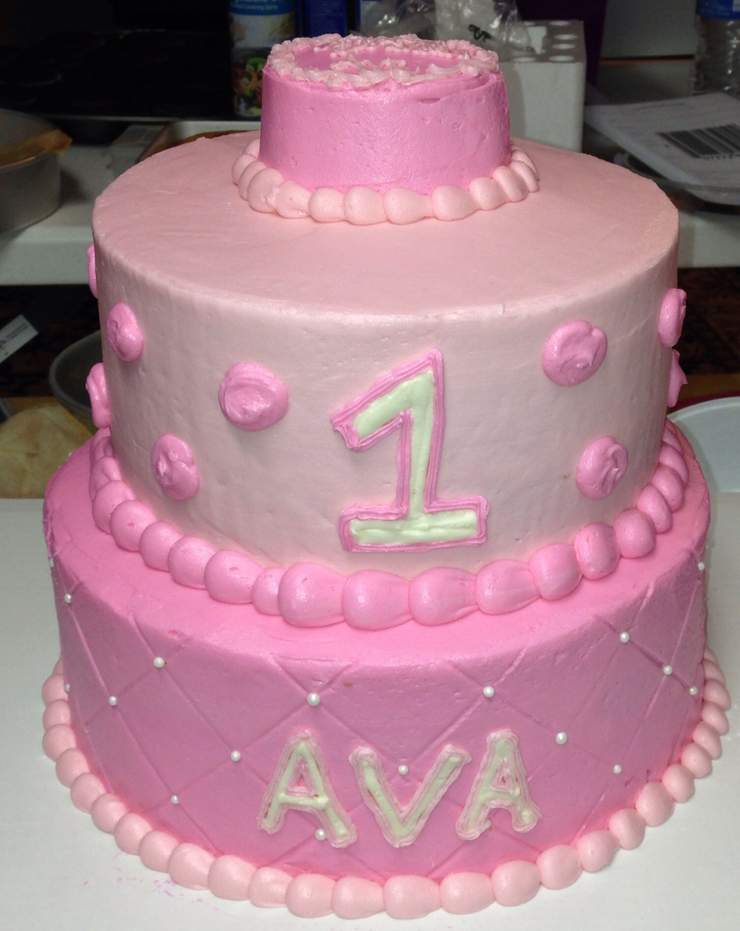 Pink 2 tier first birthday cake Birthday cake, Cake