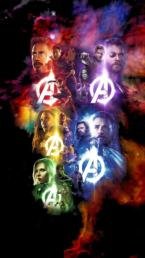 I combined 5 infinity war poster with a galaxy background