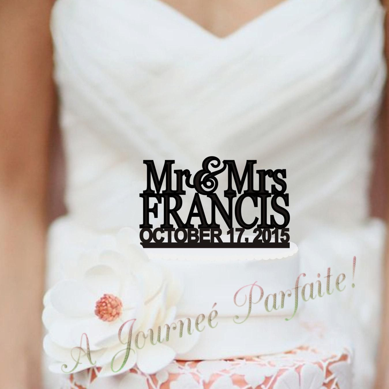 Mr & Mrs Wedding Cake Topper Custom Peronalized with Name [AJP6d ...