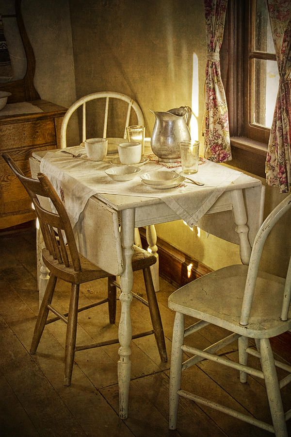 Vintage Table Setting Circa Rural 1880 No.3110 Photograph  - Vintage Table Setting Circa Rural 1880 No.3110 Fine Art Print