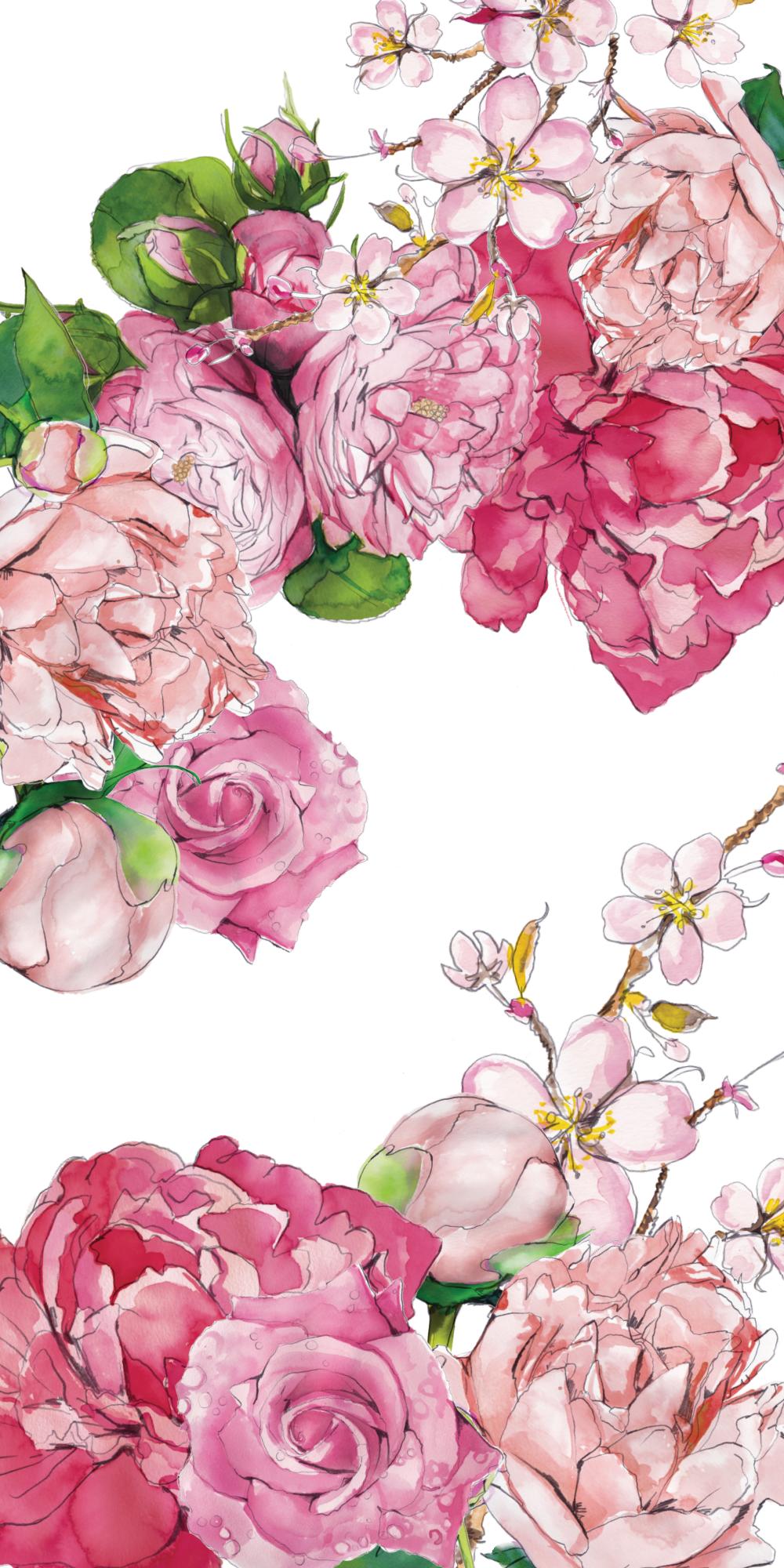 Pink Floral Casetify Iphone Art Design Illustration Flowers Flower Drawing Floral Wallpaper