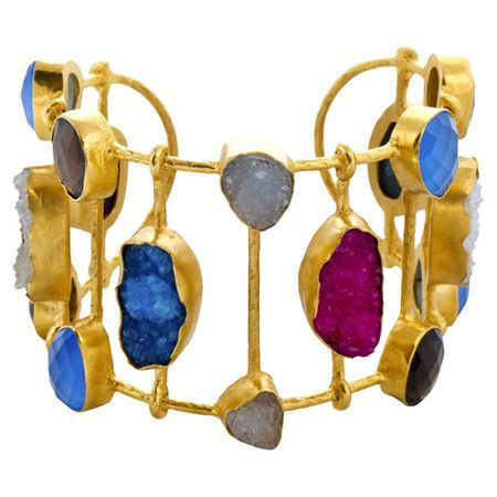 "Handcrafted 22k gold-plated cuff with pink and blue druzy accents.  Product: CuffConstruction Material: 22k Gold-plating and druzyColor: Pink and blueFeatures:  Handmade to orderMade in India Dimensions: 1.9"" H x 2"" DiameterCleaning and Care: Gently wipe clean with a soft cloth and store in a jewelry box"
