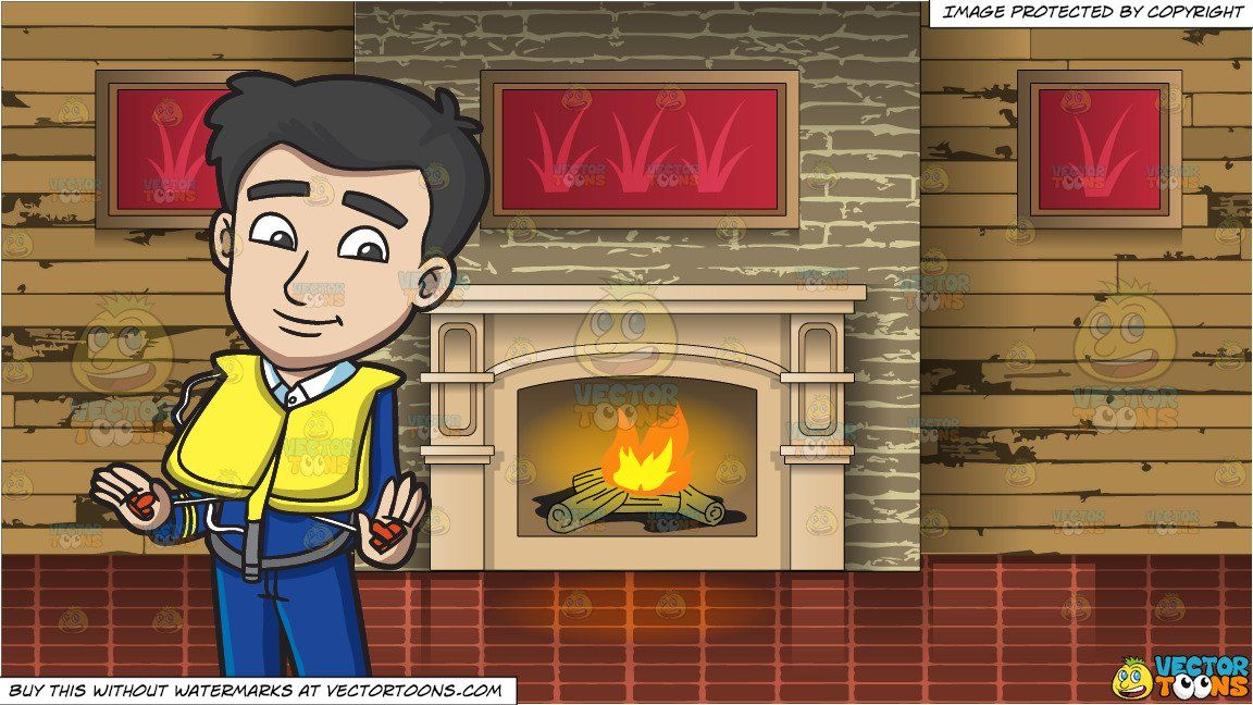 A Male Flight Attendant Demonstrating How To Put On The Emergency Life Vest And A Wood Burning Fireplace And Mantle Background Wood Burning Fireplace Life Vest Mantle