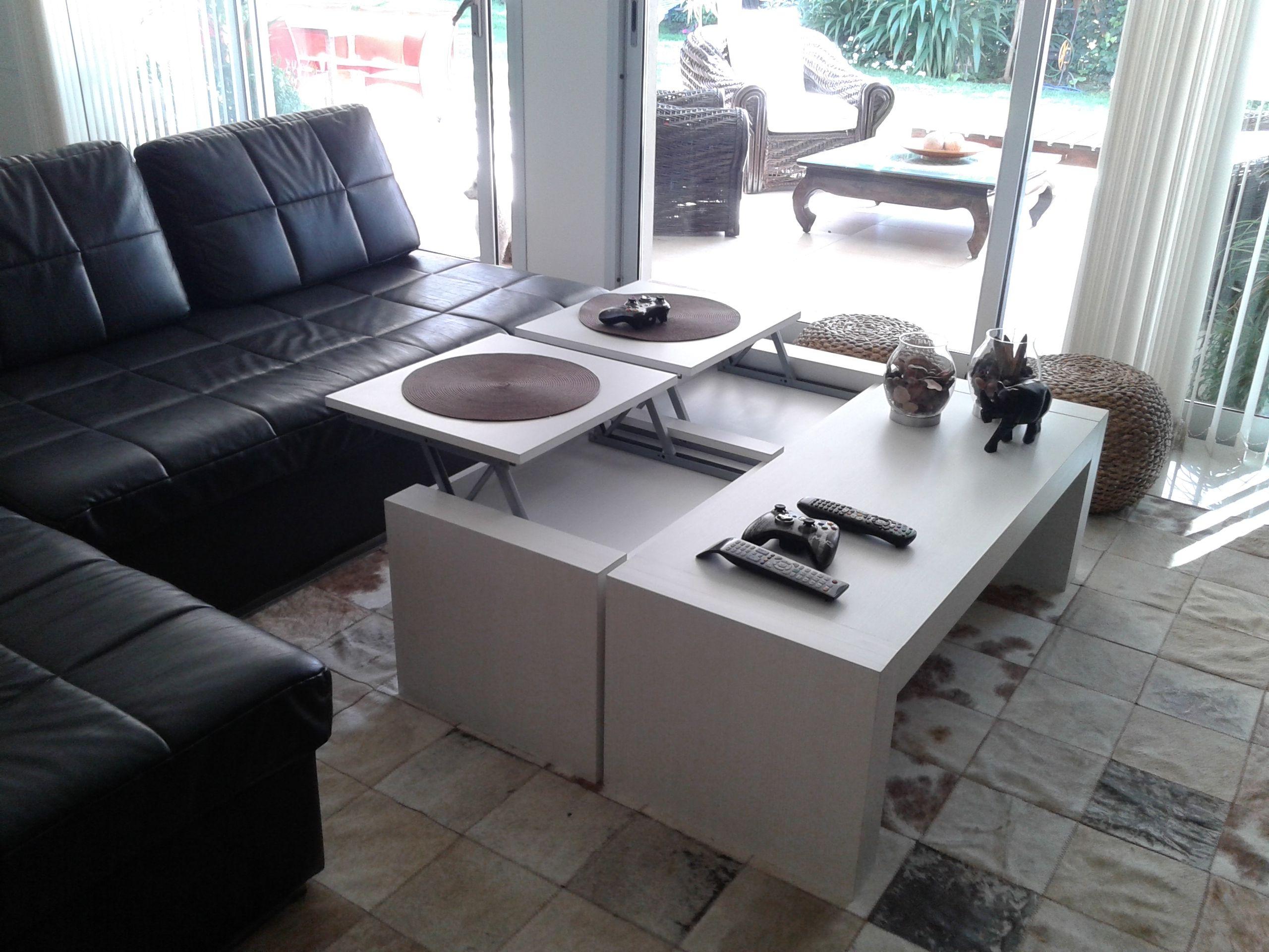 Mesa de living con bandejas levadizas ideal para comer en for Mesa de comer