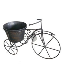 Bicycle Plant Holder Metal Garden Ornament   Brown