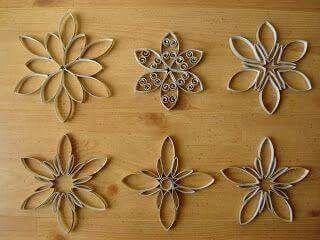 Loo roll art snow flakes Pinterest