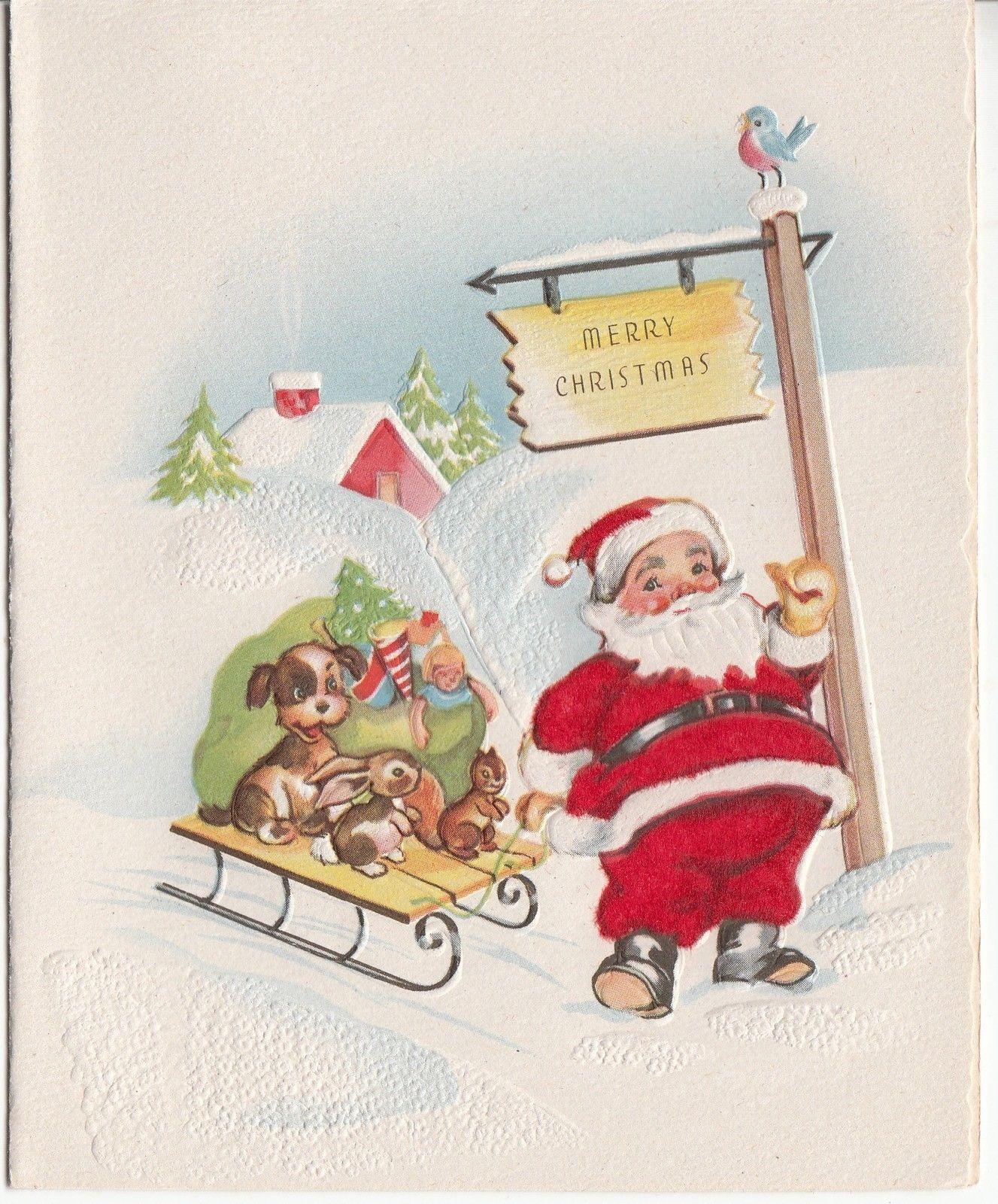 Vintage Unused Flocked Suit Santa Claus W Sled Christmas Greeting
