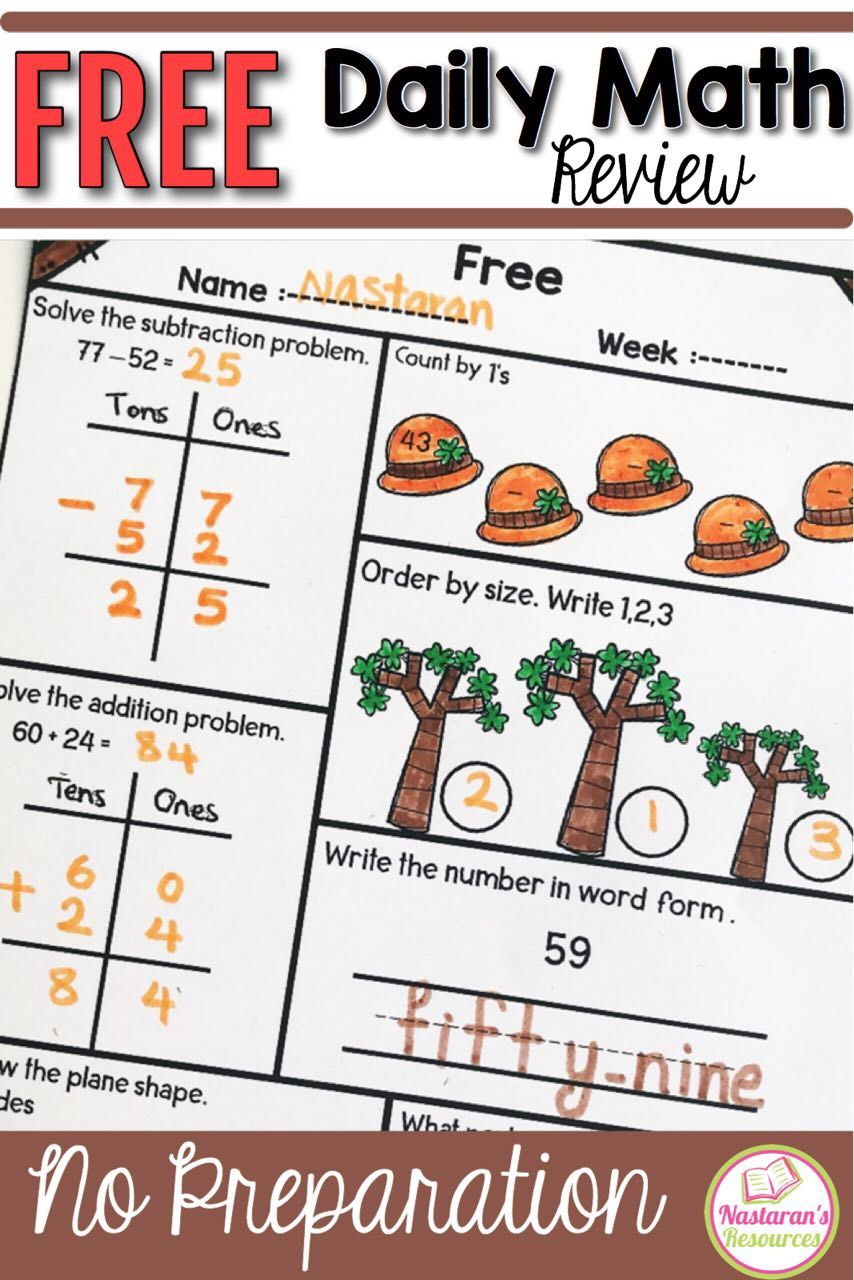 medium resolution of Daily Math Practice Grade 1 Free - Nastaran's Resources   Daily math
