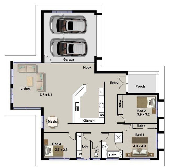 HOUSE PLANS 3 bedroom double garage – 3 Bedroom House Plans With Double Garage