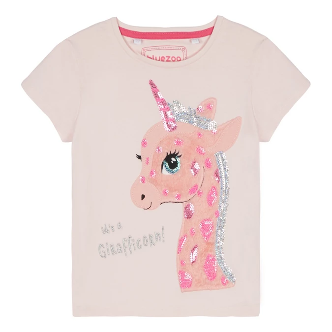 Bluezoo Kids Girls/' Light Pink Girafficorn Applique T-Shirt