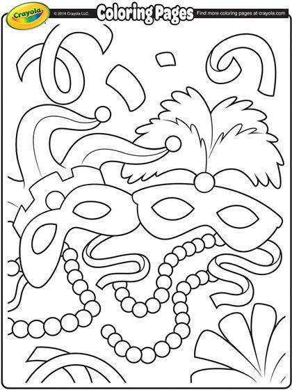 Mardi Gras Masks On Crayola Com Free Coloring Pages Mardi Gras Crafts Mardi Gras Activities
