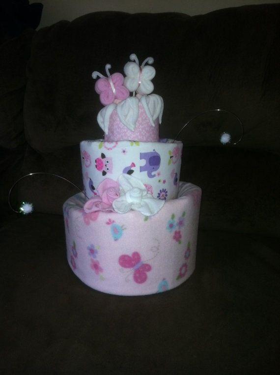 Topsy Turvy Diaper Cake Butterfly & Flower by JaideBearBabies