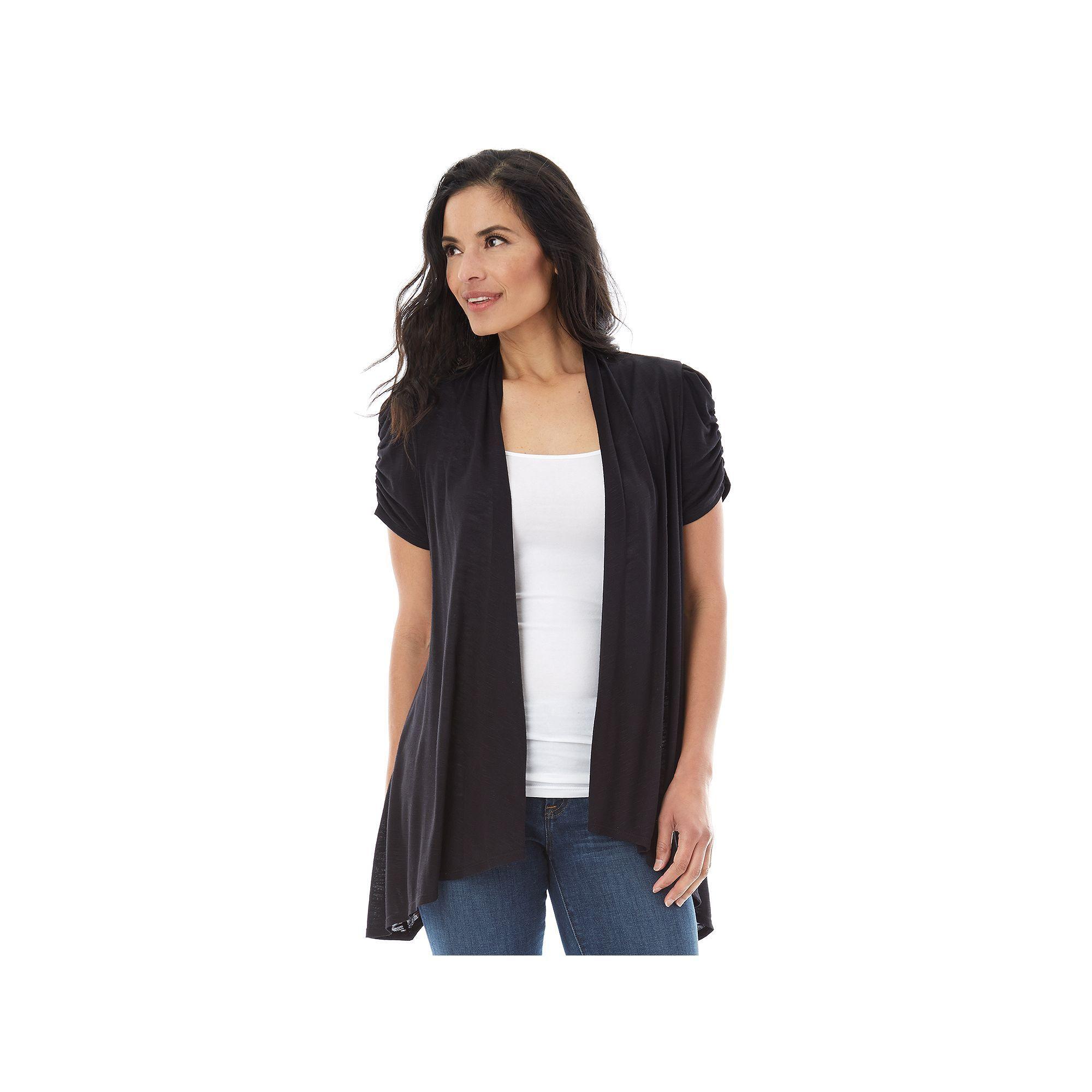 Women's AB Studio Flyaway Short Sleeve Cardigan, Size: regular ...