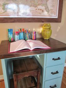 Two tone desk and stool