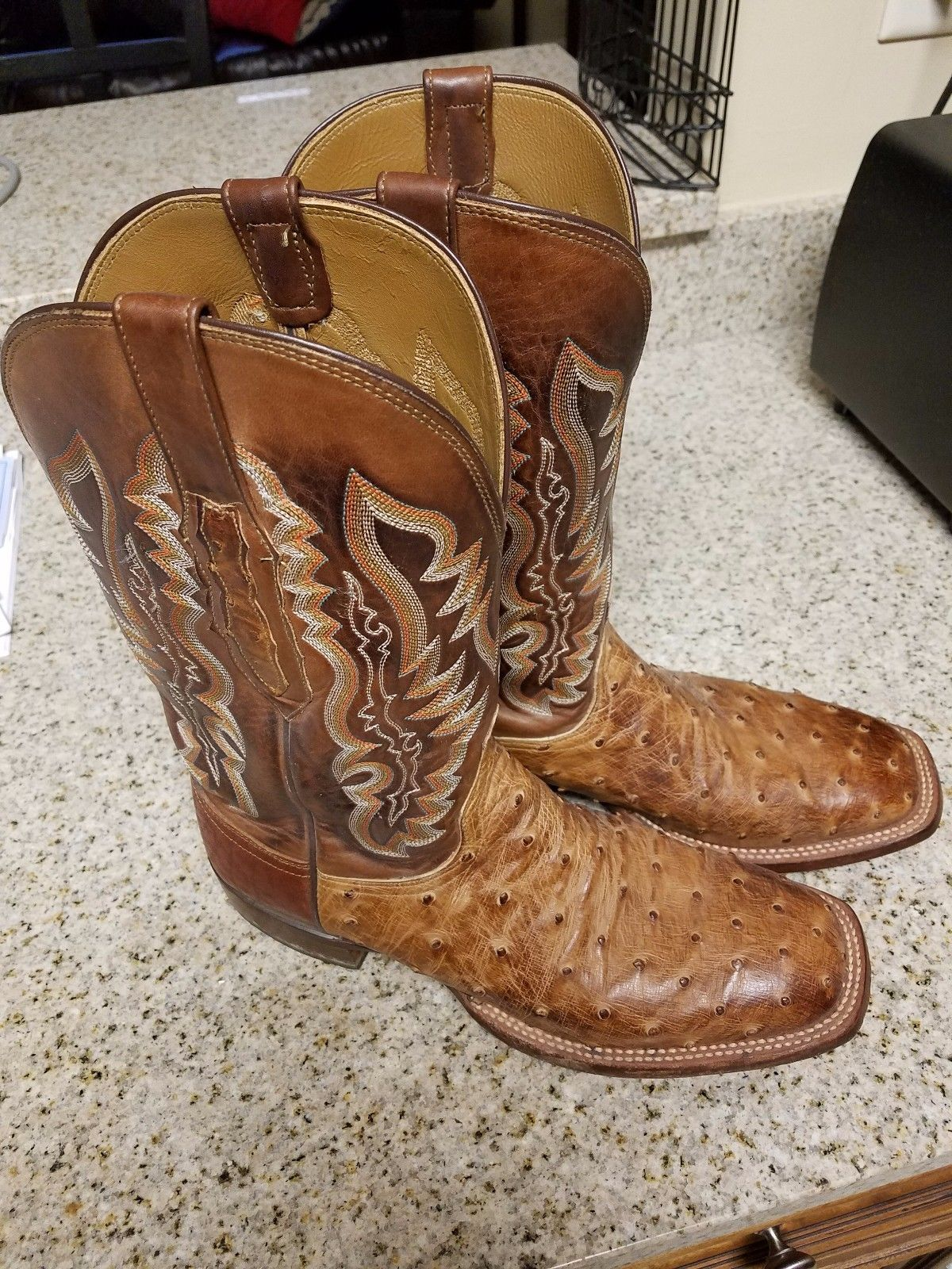 Lucchese Bootmaker Garrett W Toe Cowboy Boot(Men's) -Barnwood Burnished Full Quill Ostrich Get Authentic Online Cheap Very Cheap H5daBI