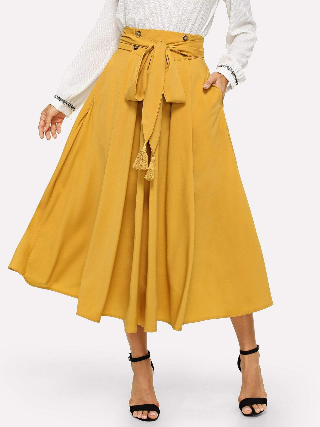 f19583129 Tassel Bow Tie Waist Pocket Side Pleated Skirt in 2019 | Products ...