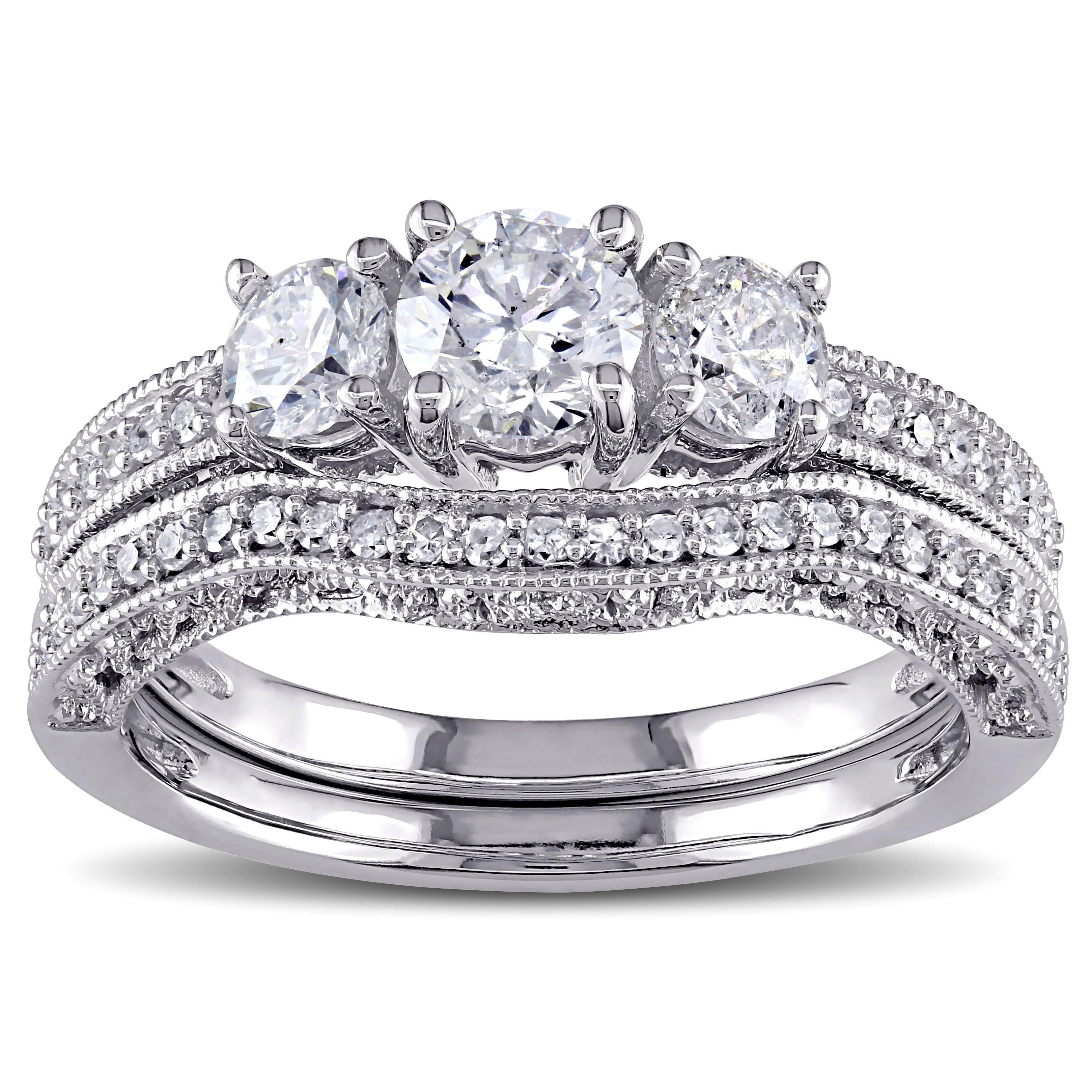 Miadora signature collection 14k white gold 1ct tdw diamond double row - Miadora Signature Collection 14k White Gold 1 1 8ct Tdw Diamond Bridal Ring Set