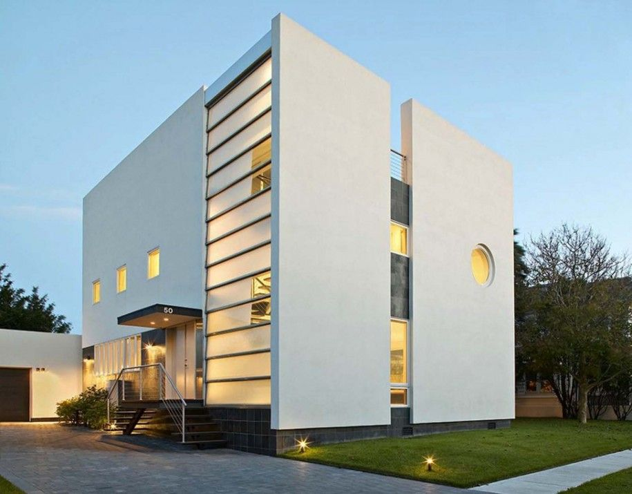 The Best Styles Of House Architecture : Excellent Modern White Cube House  Architecture Design With Lighting