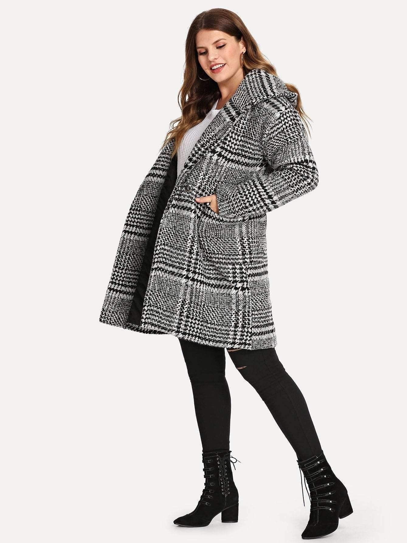 60ab307c3a5 Plaid Hooded Coat in 2019   Plus Size Collection   Tartan plaid ...