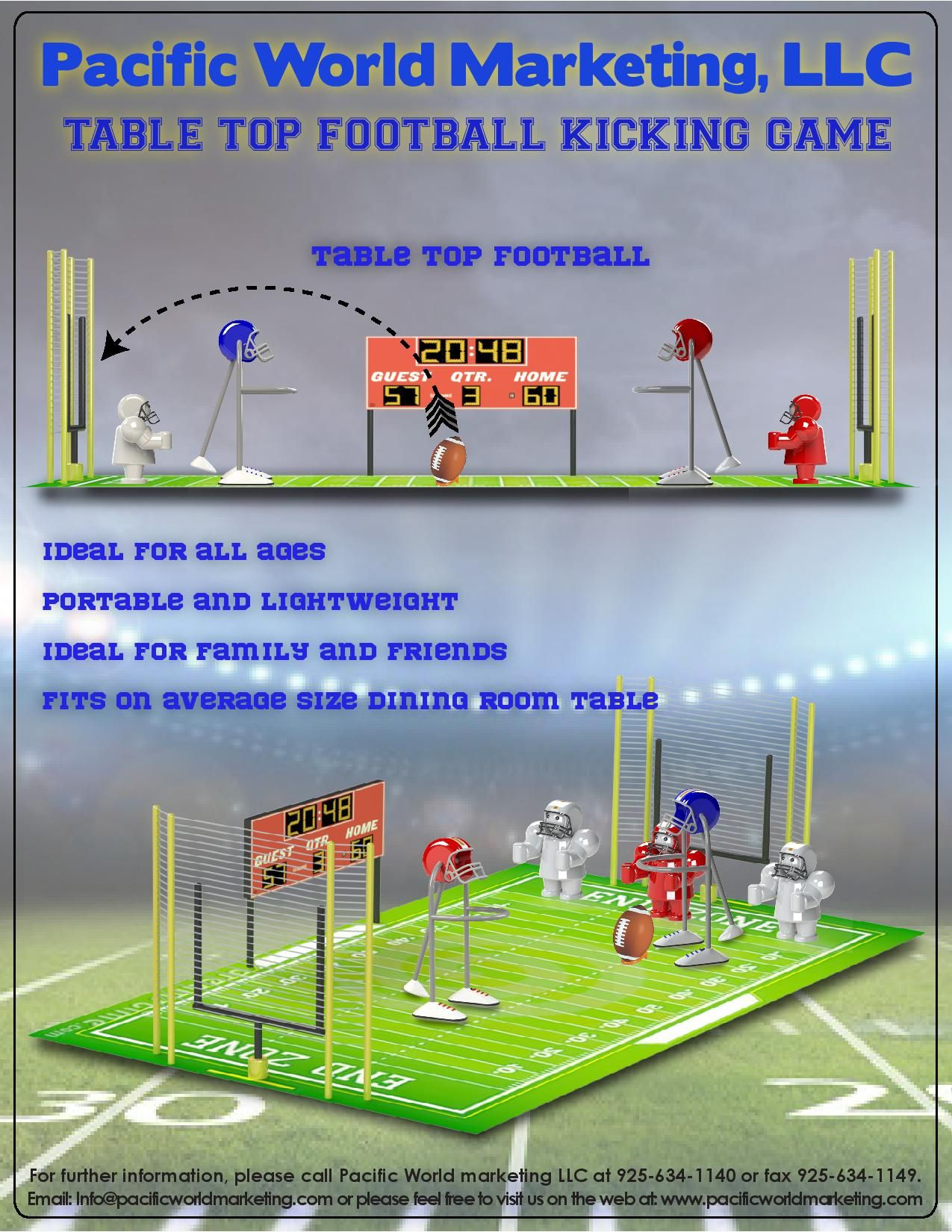 Table Top Football Kicking Game - PacificWorldMarketing.com - Products Available for Licensing