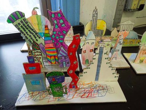 Cardboard skylines! These were done by 710 year olds at