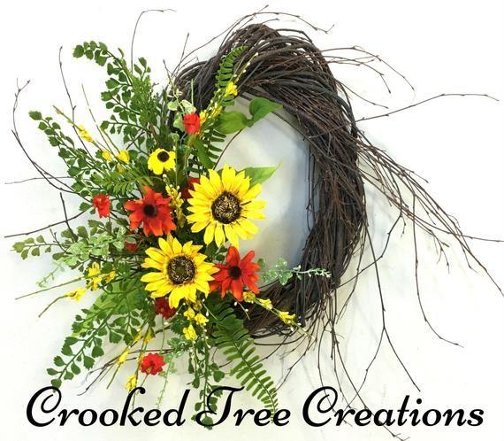 Photo of Sunflower wreath, sunflowers, summer wreath, spring wreath, sunflower door decor, birch wreath, summ
