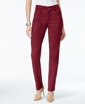 370842c954a Style & Co Petite Tummy-Control Straight-Leg Jeans, Created for Macy's -  Red 16P