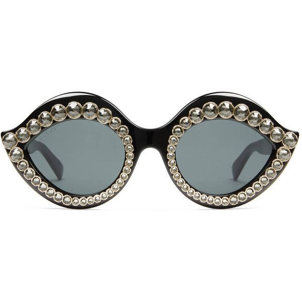 Gucci Cat Eye Sunglasses With Crystals (€550) ❤ liked on Polyvore featuring accessories, eyewear, sunglasses, glasses, black, women, gucci sunglasses, acetate glasses, gucci glasses and logo lens sunglasses