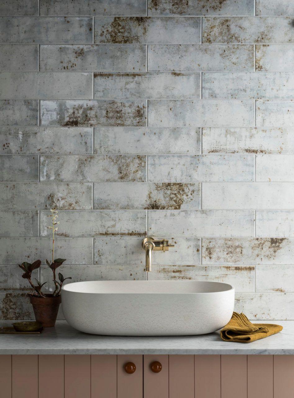 Camden White Ceramic Tiles Mandarin Stone Mandarin Stone White Ceramic Tiles Industrial Style Bathroom