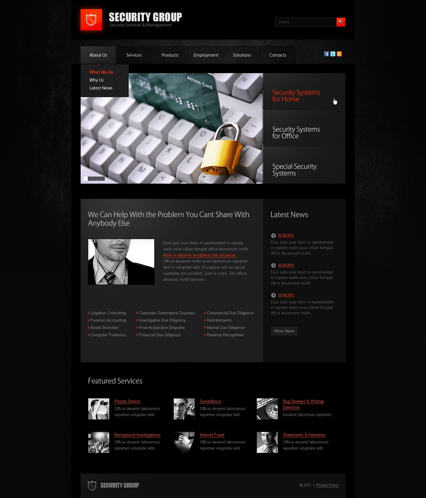 Information Security Psd Template 57260 Psd Templates Templates Web Design Software