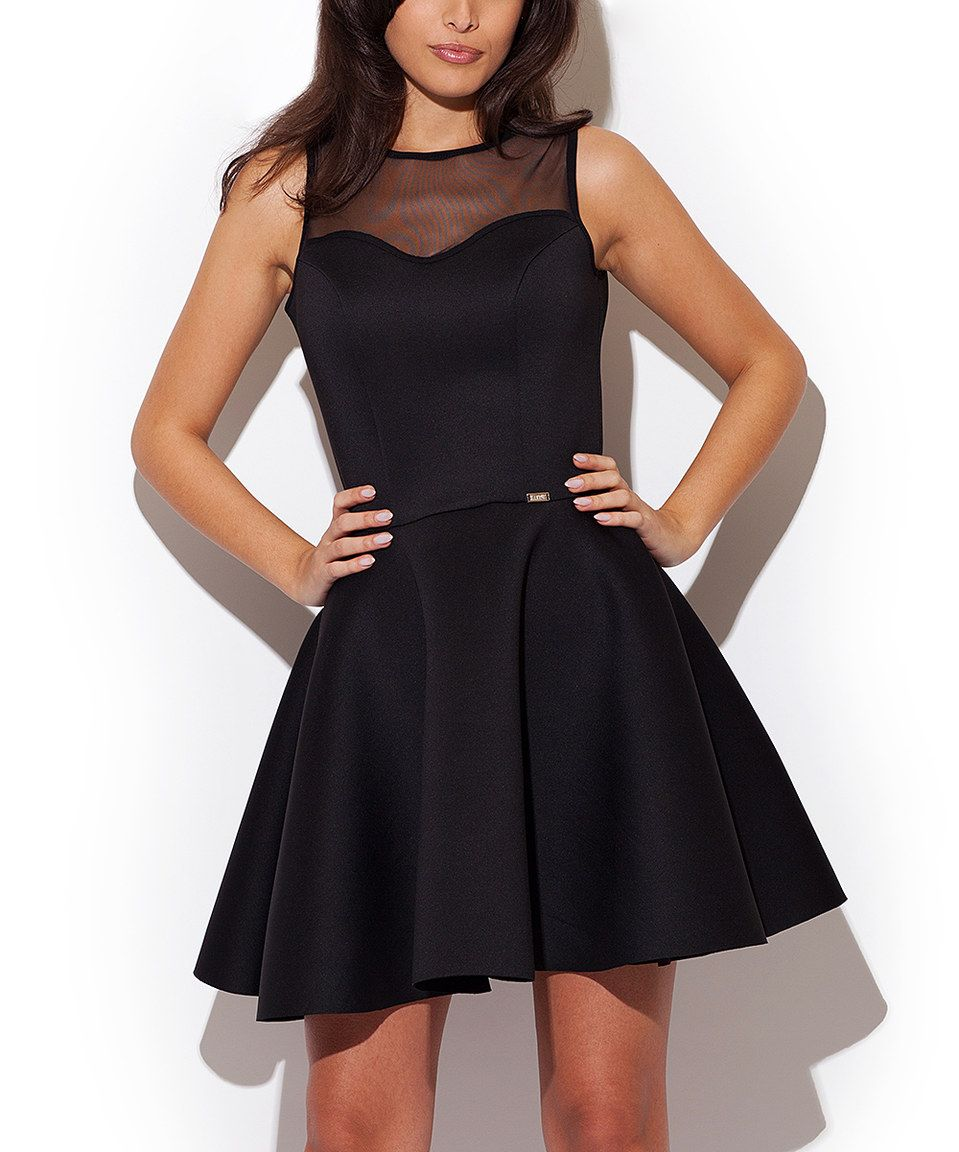 401db10440dad Love this Katrus Black Mesh-Yoke Fit   Flare Dress by Katrus on  zulily!   zulilyfinds
