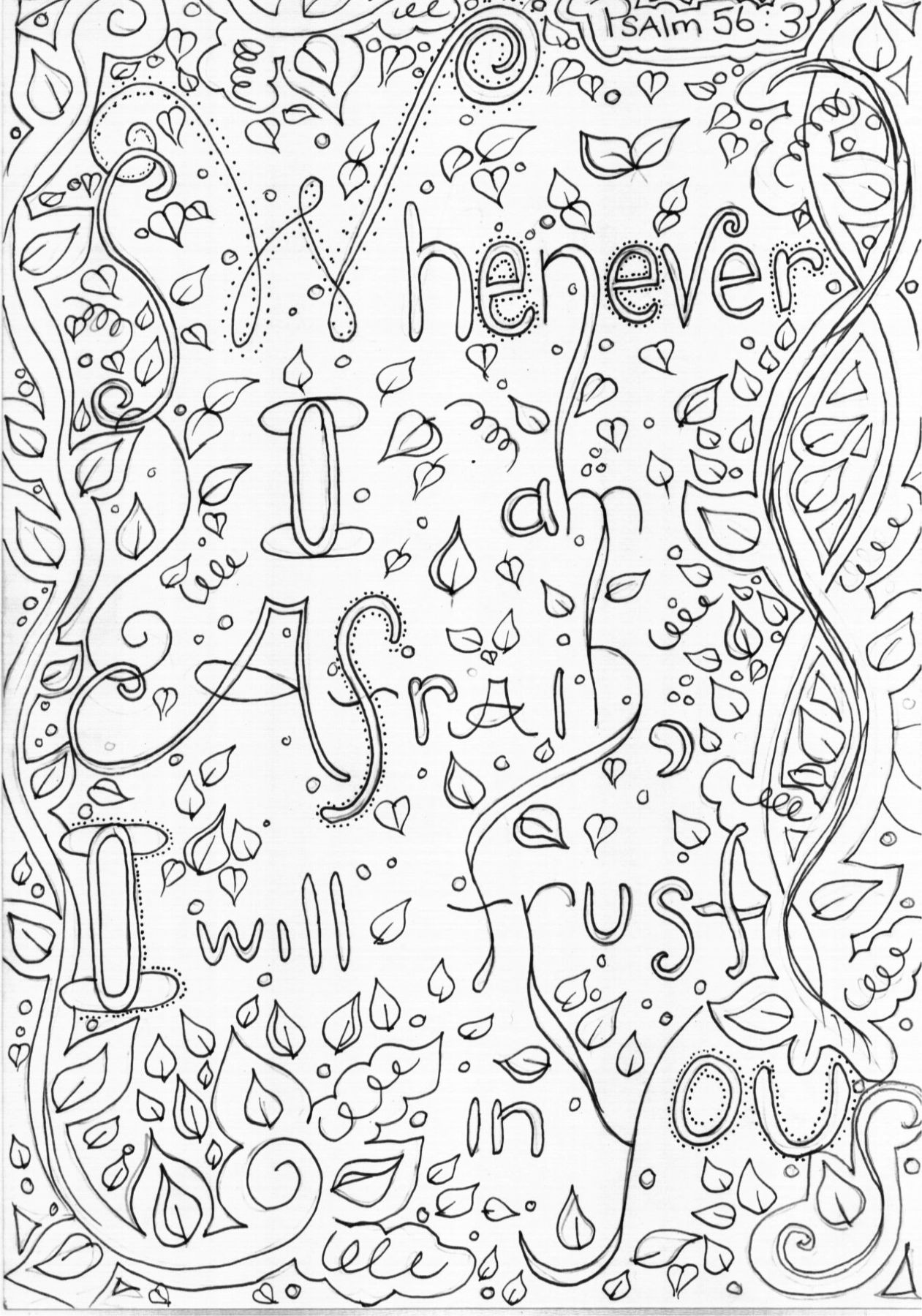 Whenever I Am Afraid Will Trust In You Psalm 563 Bible Coloring Page Journaling Inspiration Journal