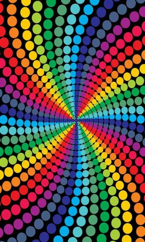 Free Colorful Geometric Wallpaper: Psychedelic Rainbow Color Dots Wallpaper