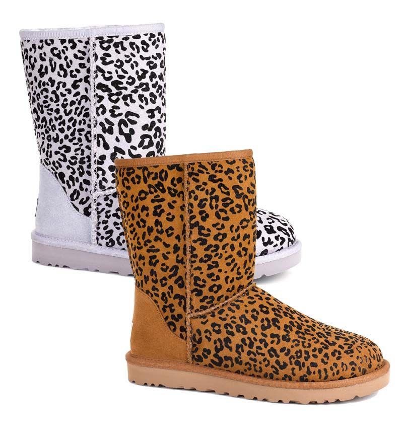 ugg womens classic short leopard boots chestnut