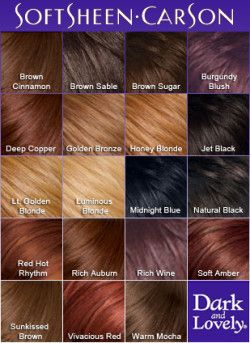 Dark Lovely Semi Permanent Hair Color Chart Hair Dye Colors