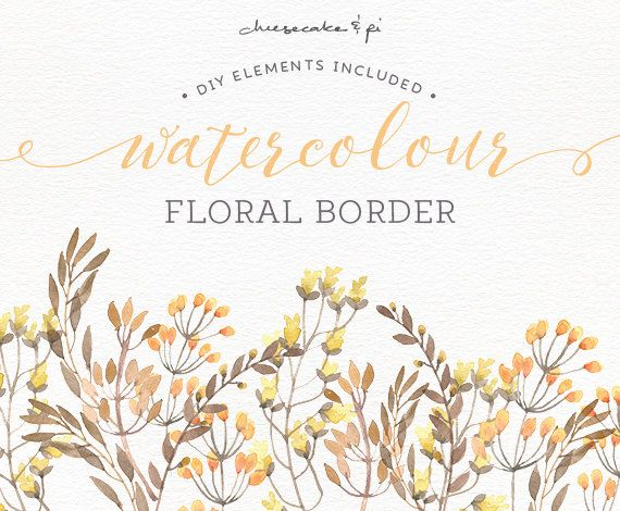Watercolor floral border: PNG floral clip art / by CheesecakeandPi ...