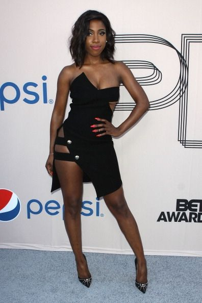 Sevyn Streeter In Anthony Vaccarello s Strapless Cut Out Crepe Dress ... de265eb5ef6