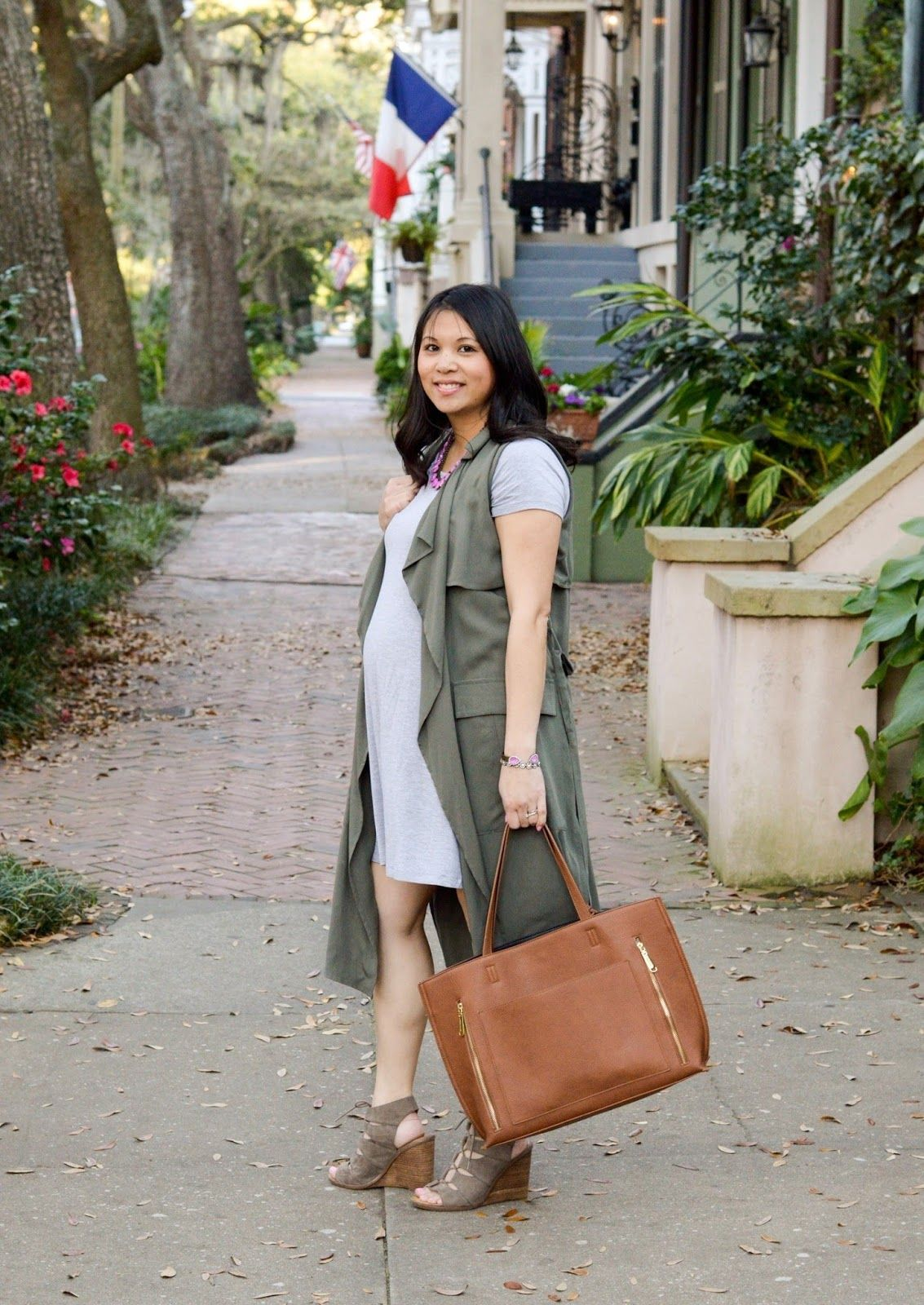 maternity style, versatile trench vest, Glitter and Juls