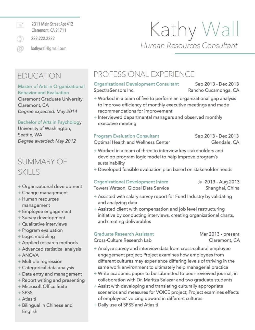 modern professional human resource resume samples
