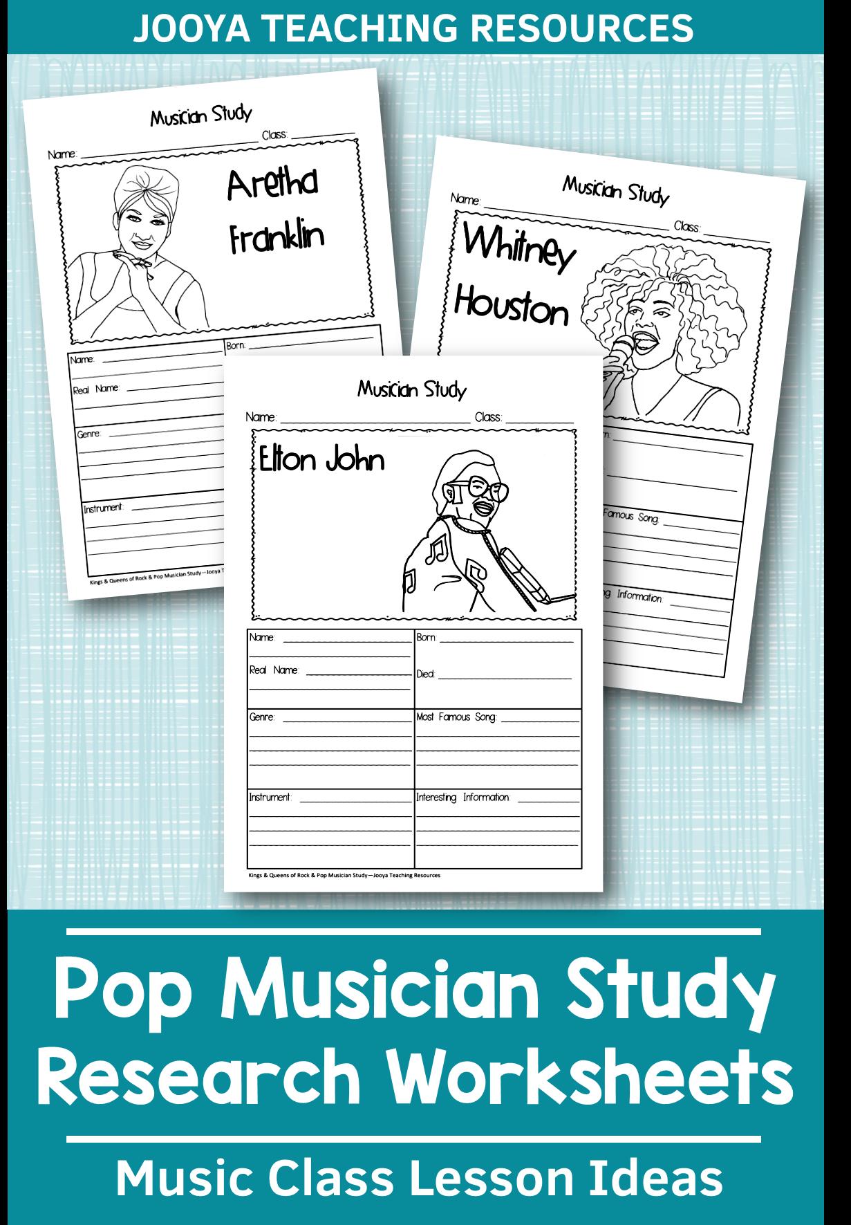 Jazz Musician Worksheets In