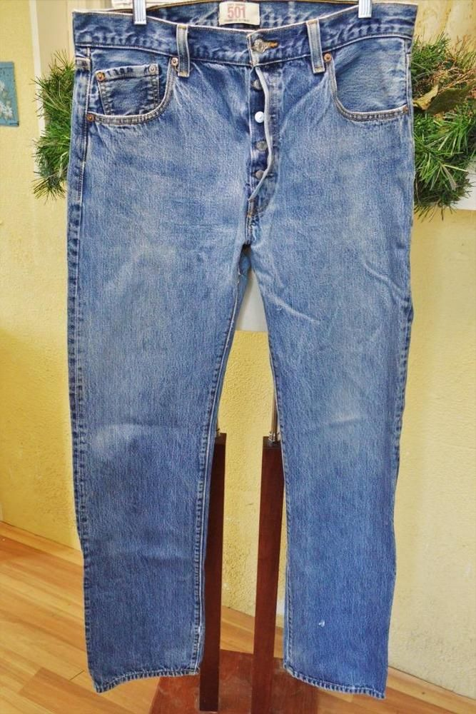 8ac091fa313 Levis 501 Straight Leg Button Fly Jeans Tag-36 36 Actual-36 33 Distressed  Grunge  Levis  StraightButtonFly