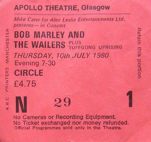 Bob Marley Ticket 10/7/80