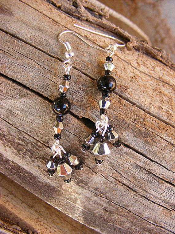 Victorian Style Black and Silver Tassel Earrings by MultiPolarity, $6.50