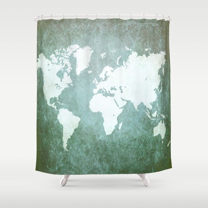 Shower Curtains Art Shower Curtain Design 55 World Map Green Teal Blue  L.Dumas