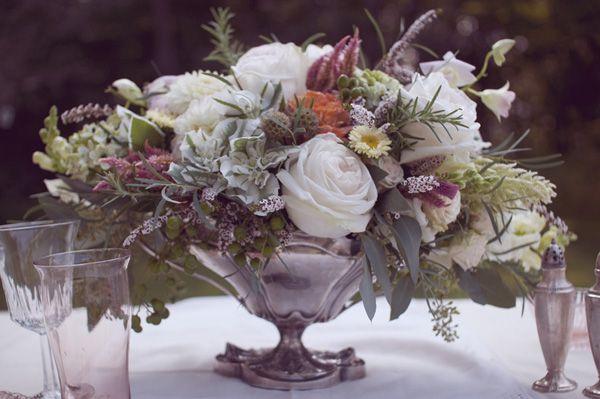Centerpiece from a Victorian Farmhouse Wedding