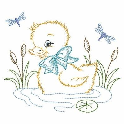 Vintage Baby Duck Embroidery Design Baby Embroidery
